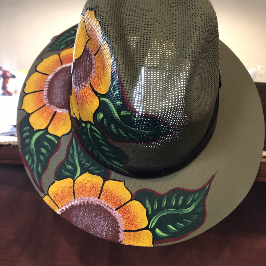 Hand Painted Sun Hat - Olive Green