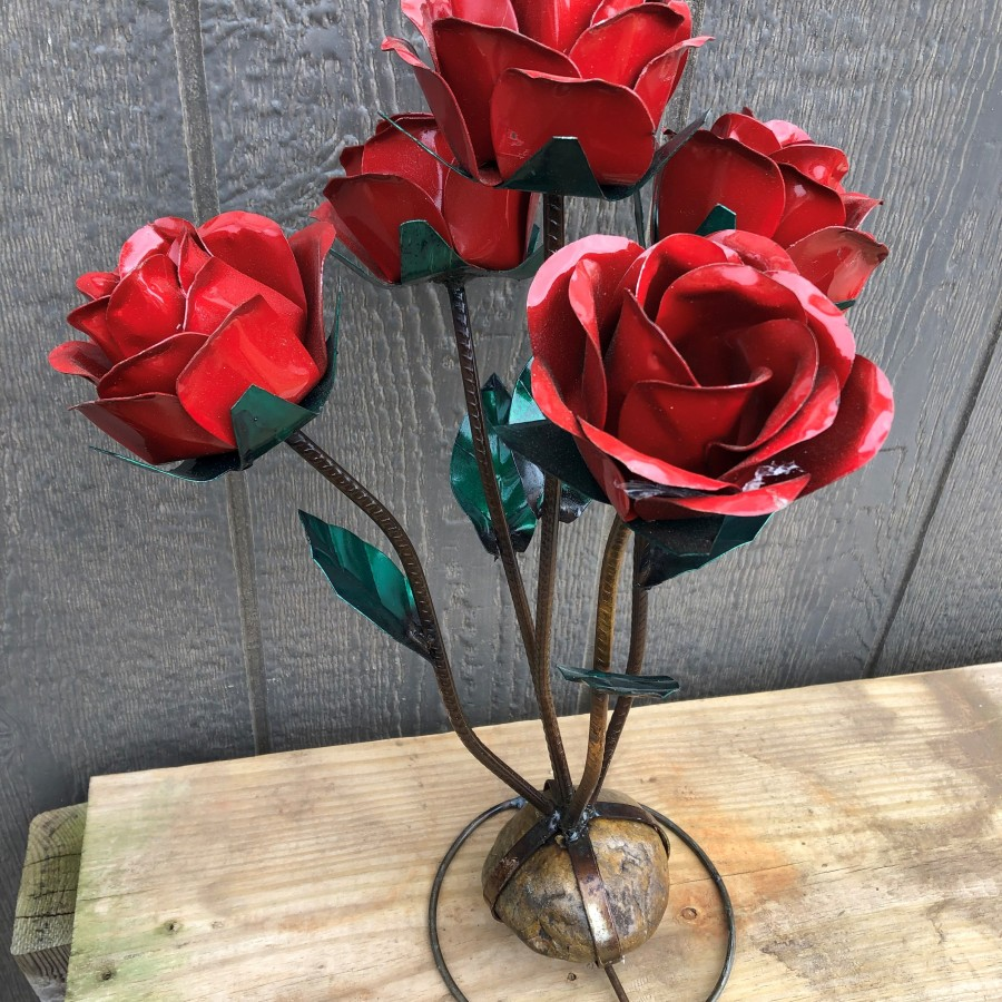 Metal Rose - Small Red